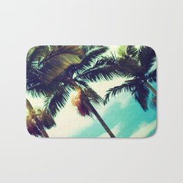Vintage Hawaiian Palm Trees Bath Mat