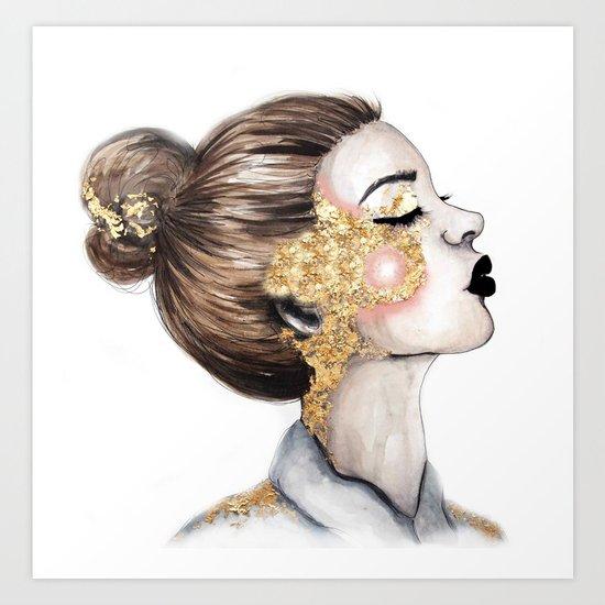Gold Cheeks // Fashion Illustration Art Print