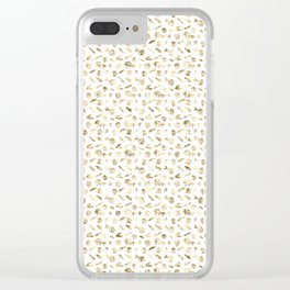 Gold Roses Rosette Pattern on White Clear iPhone Case
