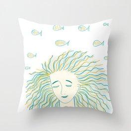Sea girl Throw Pillow
