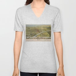 Vintage Pictorial Map of Waco Texas (1892) Unisex V-Neck