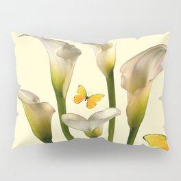 Ivory Calla Lilies Yellow Butterflies Pillow Sham