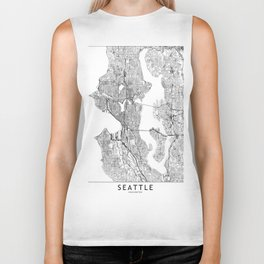 Seattle White Map Biker Tank
