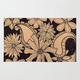Black Floral Rug