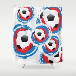 Football Ball and red, blue, white Strokes Shower Curtain