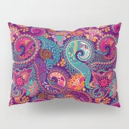 Purple Orange & Teal Floral Paisley Pillow Sham