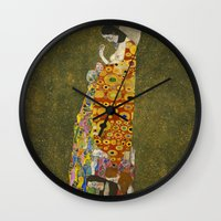 gustav klimt Wall Clocks featuring Hope II by Gustav Klimt  by Palazzo Art Gallery