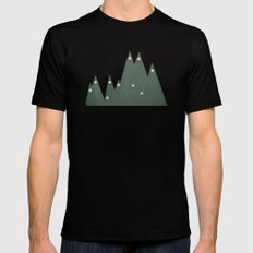 Moonlit Peaks MEDIUM Black Mens Fitted Tee