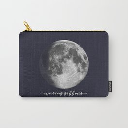 Waxing Gibbous Moon on Navy English Carry-All Pouch