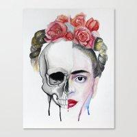frida kahlo Canvas Prints featuring Frida Kahlo  by Karol Gallegos Carrera