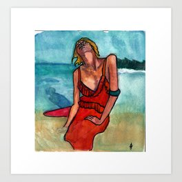 Girl in the waves. Art Print
