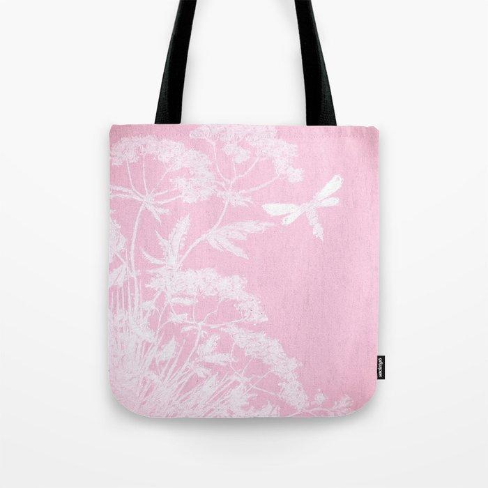 Butterfly in meadow- pink pattern  Tote Bag