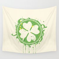 clover Wall Tapestries featuring Patrick's clover by Sitchko Igor