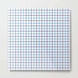 Classic Blue & White Large Tattersall Check Pattern Metal Print