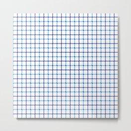 Classic Blue & White Large Tattersall Check Pattern Metal Print