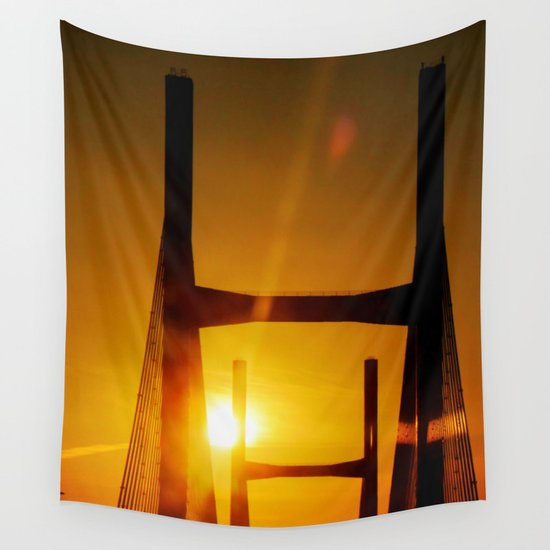 Sunset at the Bridge Wall Tapestry