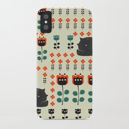 Cats napping between flowers iPhone Case