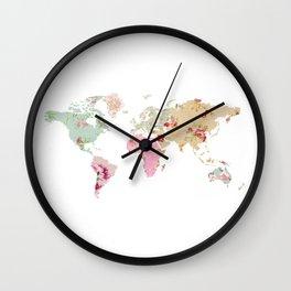 Pastel World Map Poster Wall Clock