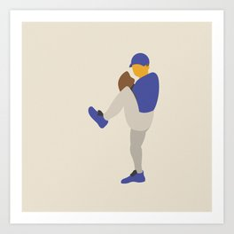 Baseball Player in Blue Pitching from Windup, Flat Graphic Art Print