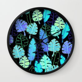 tropic leaves pattern (monstera and the bird of paradise) Wall Clock