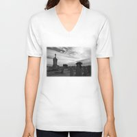 portland V-neck T-shirts featuring Portland Graveyard by Wealie