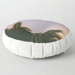 Sunset Purple Palm Tree Circle Photo Floor Pillow