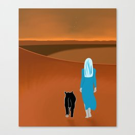 Sky Woman Goes for A Walk at Sunset on Mars With Sky Cat Canvas Print