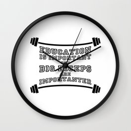 biceps vs education Wall Clock