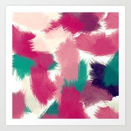 Fuchsia & Green Brushstrokes Art Print