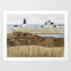 Seashore lighthouse and wild horses Art Print