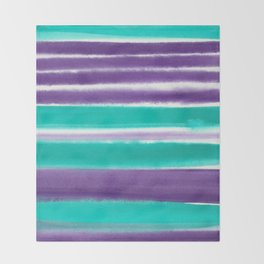 Teal and Purple Watercolor Stripes Throw Blanket