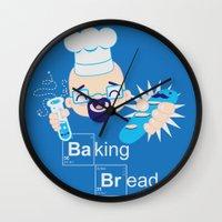 baking Wall Clocks featuring Baking Bread Kawaii by DarkChoocoolat