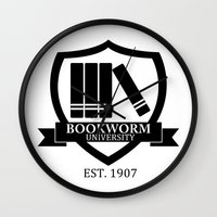 bookworm Wall Clocks featuring Bookworm University by bookwormboutique