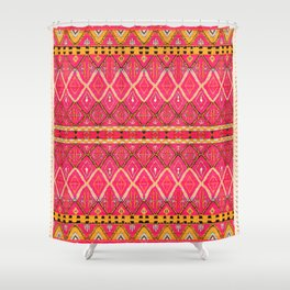 Pink Oriental Berber Bohemian Traditional Moroccan Style Shower Curtain