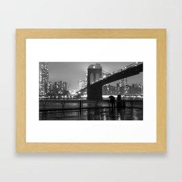 Brooklyn Bridge on a rainy night Framed Art Print
