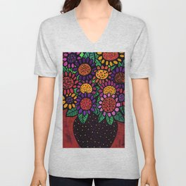 Playful Posies - Vase of Whimsical Flowers Unisex V-Neck