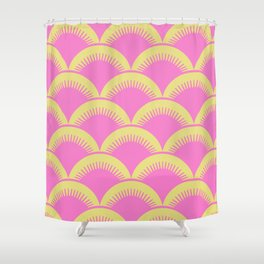 Japanese Fan Pattern Pink and Chartreuse Shower Curtain