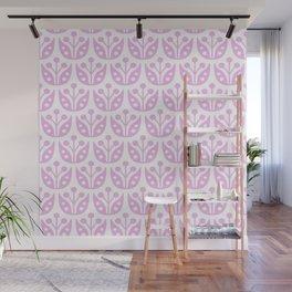 Mid Century Modern Flower Pattern 731 Pink Wall Mural