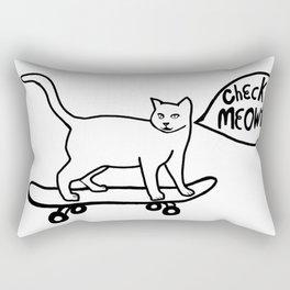 Check MEOWT! Skateboarding Cat Black White Rectangular Pillow