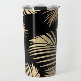 Gold Palm Leaves on Black Travel Mug
