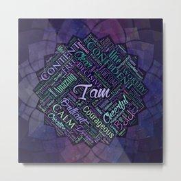 I am Affirmations Word Cloud Art in lotus Metal Print