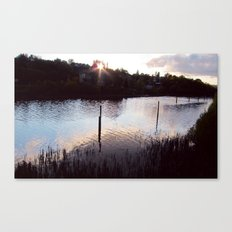 Sunset by the river Canvas Print