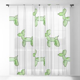 Green Watercolor Balloon Dogs! Sheer Curtain