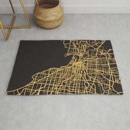 MELBOURNE AUSTRALIA GOLD ON BLACK CITY MAP Rug