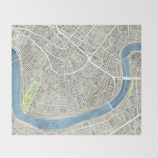 New Orleans City Map Throw Blanket