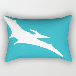 Pterodactyl Dinosaur Turquoise Blue Rectangular Pillow