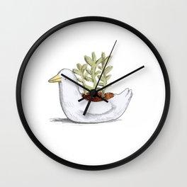 Succulent in Duck Planter Wall Clock