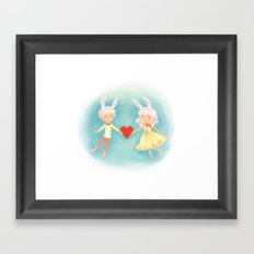Bunny Hearts Framed Art Print
