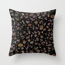 Botanical Study- Dark Colorway Throw Pillow