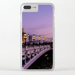 Sunset over Paris Bridge (Color) Clear iPhone Case